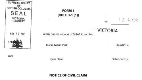 Notice of Civil Action Nov 22 page 1 greyscale crop